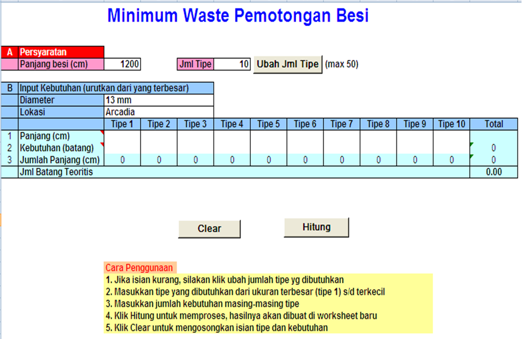 Pengendalian Waste Besi Tulangan dengan Software Optimasi Waste Besi (SOWB) 1