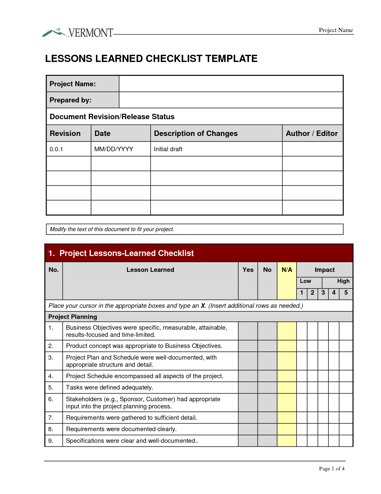 lessons learned template – Lessons Learned Template